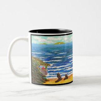 Caneca De Café Em Dois Tons Mar e vida. 100 palavras com seascape de plutônio