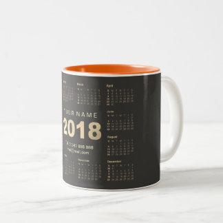 Caneca De Café Em Dois Tons Marca 2018 conhecida cinzenta do endereço do ouro