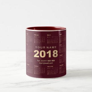 Caneca De Café Em Dois Tons Marca 2018 do endereço do nome de Burgund do ouro
