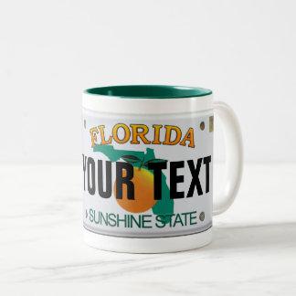 Caneca De Café Em Dois Tons Matrícula (customizável) de Florida