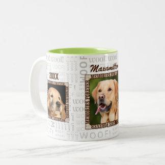 Caneca De Café Em Dois Tons Memorial do animal de estimação do amante do cão