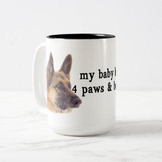 Caneca De Café Em Dois Tons Meu bebê é german shepherd