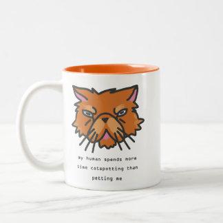Caneca De Café Em Dois Tons Meu ser humano passa mais tempo Catspotting