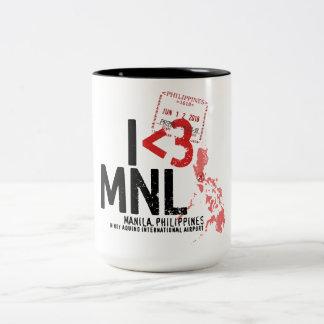 Caneca De Café Em Dois Tons Mim coração Manila - selo do aeroporto e do