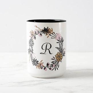 Caneca De Café Em Dois Tons Monograma preto cor-de-rosa bonito da grinalda do