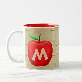 Caneca De Café Em Dois Tons Monograma vermelho de Apple