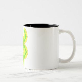 Caneca De Café Em Dois Tons Mug demi-cercles triângulos verde amarelo