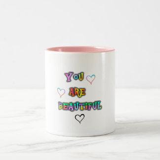 Caneca De Café Em Dois Tons Mug mensagem positiva Your are beautiful