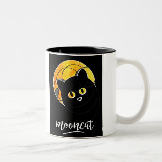 Caneca De Café Em Dois Tons Mug of a cat with circles in front of the moon