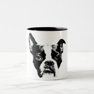Caneca De Café Em Dois Tons Muggin médio! Atitude de Boston Terrier