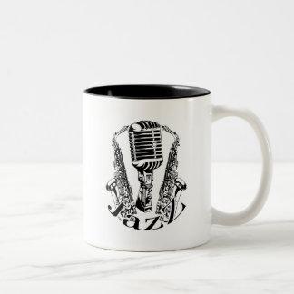 Caneca De Café Em Dois Tons Música do microfone do saxofone do saxofone do ~
