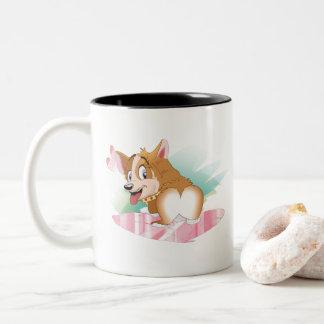 Caneca De Café Em Dois Tons Namorados do Corgi