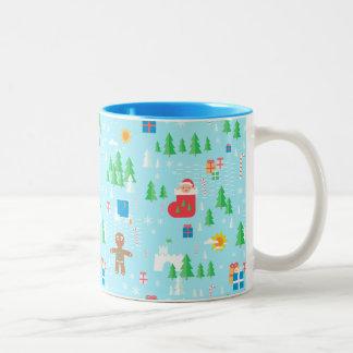 Caneca De Café Em Dois Tons Natal vermelho dos duendes do verde azul
