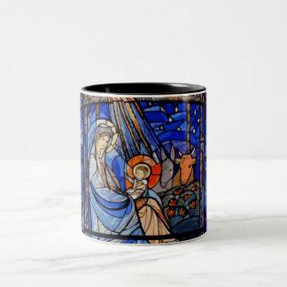 Caneca De Café Em Dois Tons Natividade do estilo do vitral