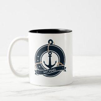 Caneca De Café Em Dois Tons Navigação náutica do marinheiro da âncora