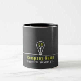 Caneca De Café Em Dois Tons negócio elétrico cinzento rústico do logotipo da