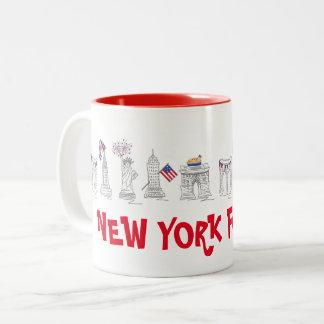 Caneca De Café Em Dois Tons New York quarto NYC 4o julho EUA patrióticos