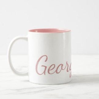 Caneca De Café Em Dois Tons Nome Textured Monogrammed cor-de-rosa