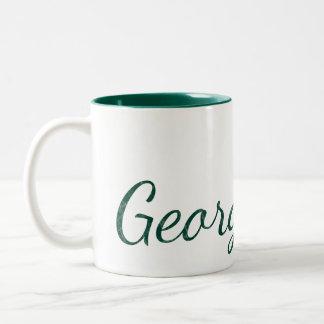 Caneca De Café Em Dois Tons Nome Textured Monogrammed do verde de caçador