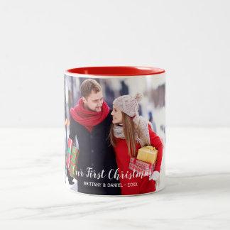 Caneca De Café Em Dois Tons Nosso branco vermelho da primeira foto do casal do
