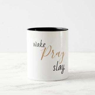 Caneca De Café Em Dois Tons o acordar pray massacra