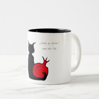 Caneca De Café Em Dois Tons O amor é amor, diz o gato