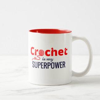 Caneca De Café Em Dois Tons O Crochet é minha superpotência no vermelho