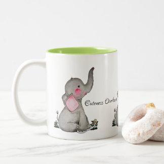 Caneca De Café Em Dois Tons O elefante bonito do bebê da aguarela com cora &