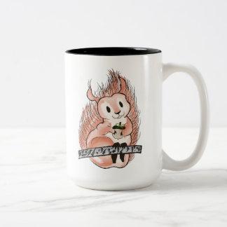 Caneca De Café Em Dois Tons O inverno: Ilustração do feriado do esquilo