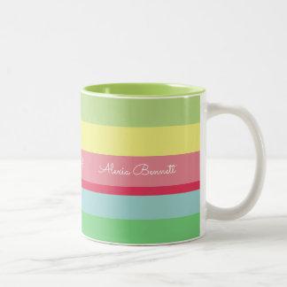 Caneca De Café Em Dois Tons o nome em listras, colore listrado