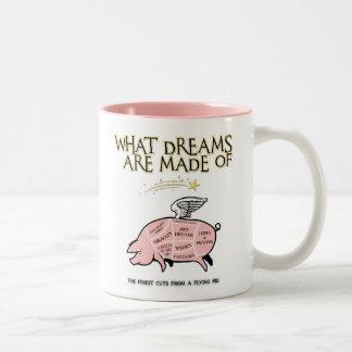 Caneca De Café Em Dois Tons O porco do vôo Corte-Que sonha é feito de