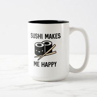 Caneca De Café Em Dois Tons O sushi faz-me feliz