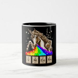 Caneca De Café Em Dois Tons O unicórnio da química pukes o arco-íris