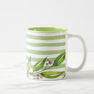 Caneca De Café Em Dois Tons O verde corajoso da arte da aguarela listra o