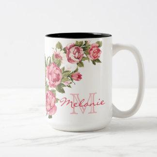 Caneca De Café Em Dois Tons O vintage cora peônias cor-de-rosa nome dos rosas,