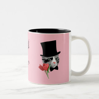 Caneca De Café Em Dois Tons Obrigado gato com flor