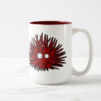Caneca De Café Em Dois Tons Oceano vermelho uni espinhoso do ouriço do