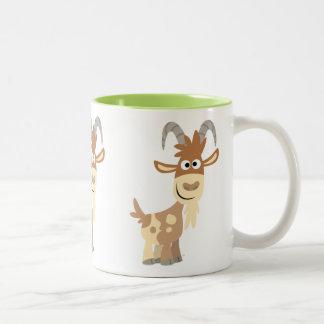 Caneca De Café Em Dois Tons Olá! lá! Cabra bonito dos desenhos animados