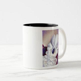 Caneca De Café Em Dois Tons Onni o retrato do cockatoo do guarda-chuva