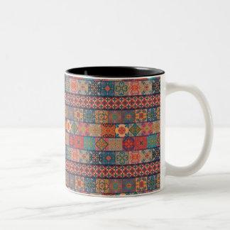 Caneca De Café Em Dois Tons Ornamento de talavera do mosaico do vintage