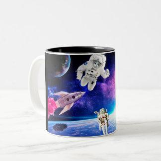Caneca De Café Em Dois Tons Os gatos do astronauta no espaço levaram a cabo