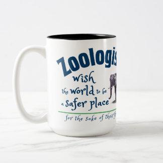 Caneca De Café Em Dois Tons Os Zoologists desejam o mundo ser um lugar mais