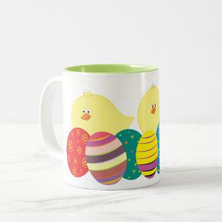 Caneca De Café Em Dois Tons Ovos ornamentado coloridos bonitos dos desenhos