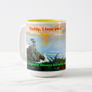 Caneca De Café Em Dois Tons Pai, eu te amo! Um copo com uma canção de marcha