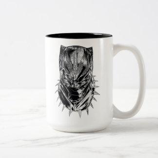 Caneca De Café Em Dois Tons Pantera preta esboço principal preto & branco de |