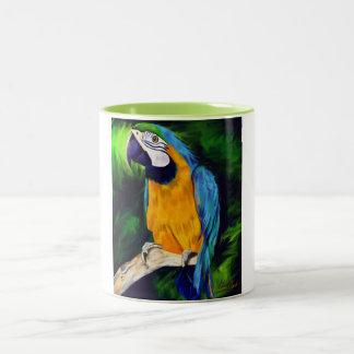 Caneca De Café Em Dois Tons Papagaio azul e amarelo do Macaw