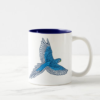 Caneca De Café Em Dois Tons Papagaio em vôo, azuis cobaltos e marinho