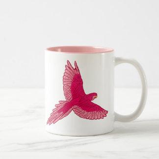 Caneca De Café Em Dois Tons Papagaio em vôo, fúcsia e luz - rosa
