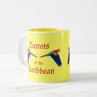 Caneca De Café Em Dois Tons Papagaios do amarelo do caribe