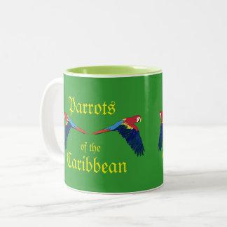 Caneca De Café Em Dois Tons Papagaios do verde do caribe